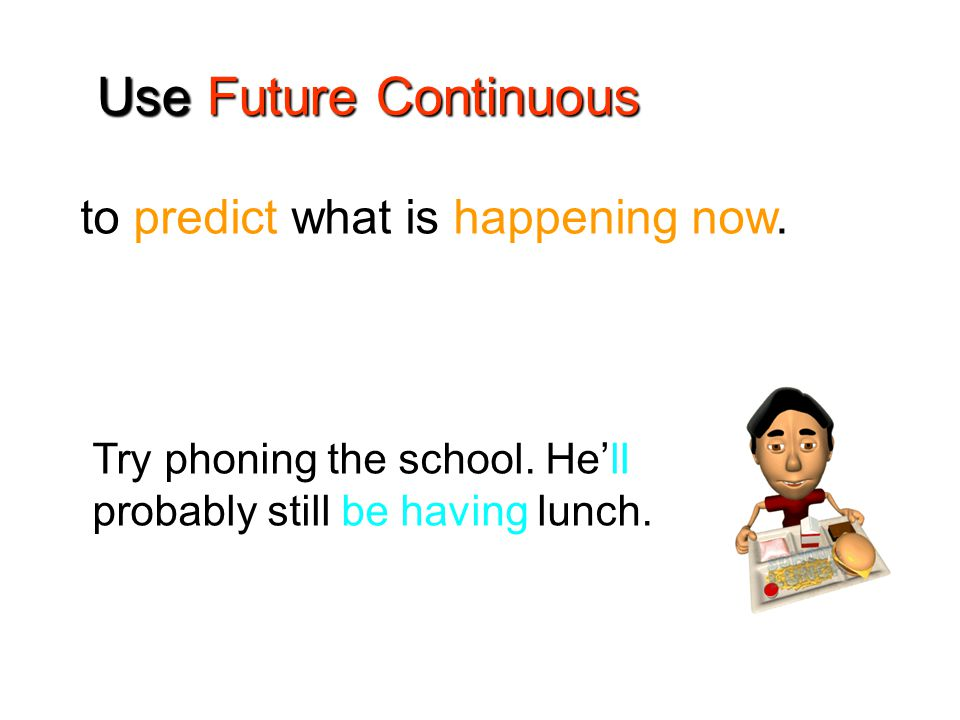 to predict what is happening now. Use Future Continuous Try phoning the school.
