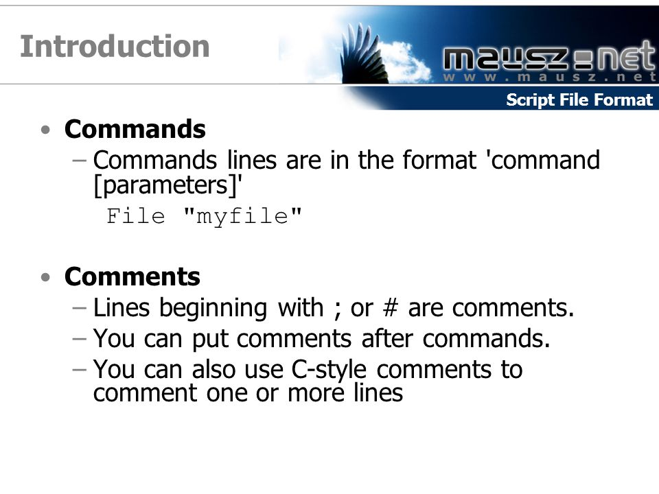Introduction Commands –Commands lines are in the format command [parameters] File myfile Comments –Lines beginning with ; or # are comments.