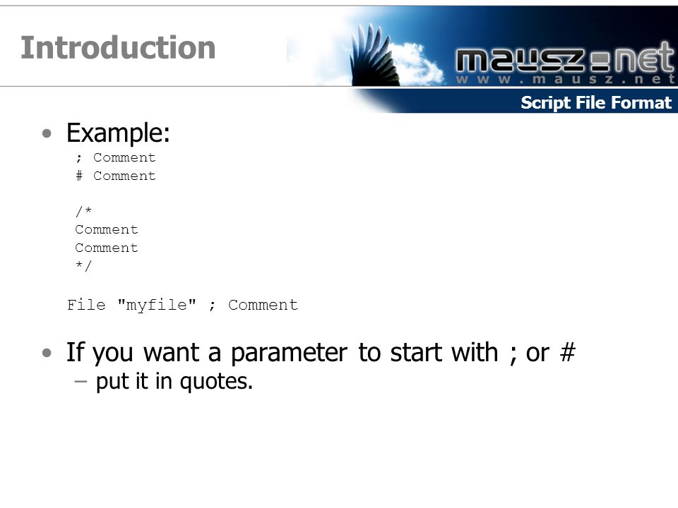 Introduction Example: ; Comment # Comment /* Comment */ File myfile ; Comment If you want a parameter to start with ; or # –put it in quotes.