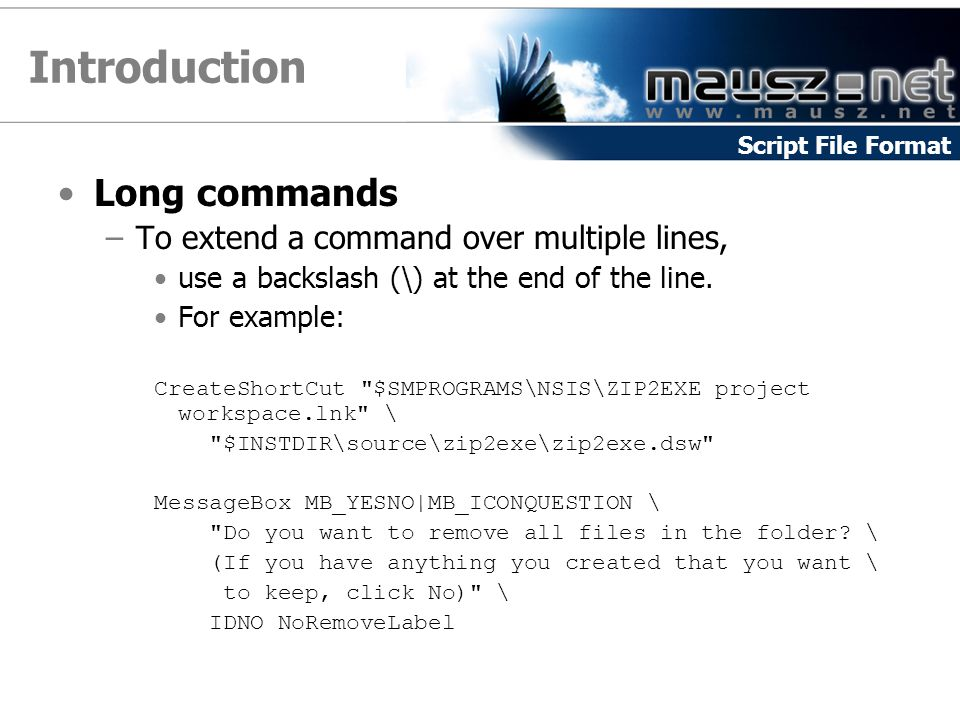 Introduction Long commands –To extend a command over multiple lines, use a backslash (\) at the end of the line.