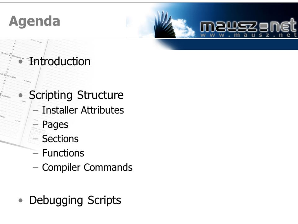 Agenda Introduction Scripting Structure –Installer Attributes –Pages –Sections –Functions –Compiler Commands Debugging Scripts