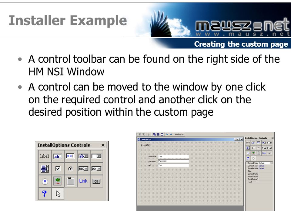 Installer Example A control toolbar can be found on the right side of the HM NSI Window A control can be moved to the window by one click on the required control and another click on the desired position within the custom page Creating the custom page
