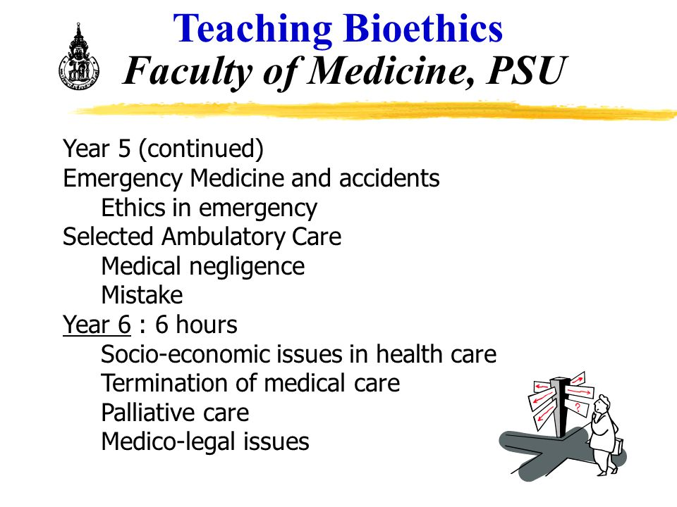 Year 5 (continued) Emergency Medicine and accidents Ethics in emergency Selected Ambulatory Care Medical negligence Mistake Year 6 : 6 hours Socio-eco