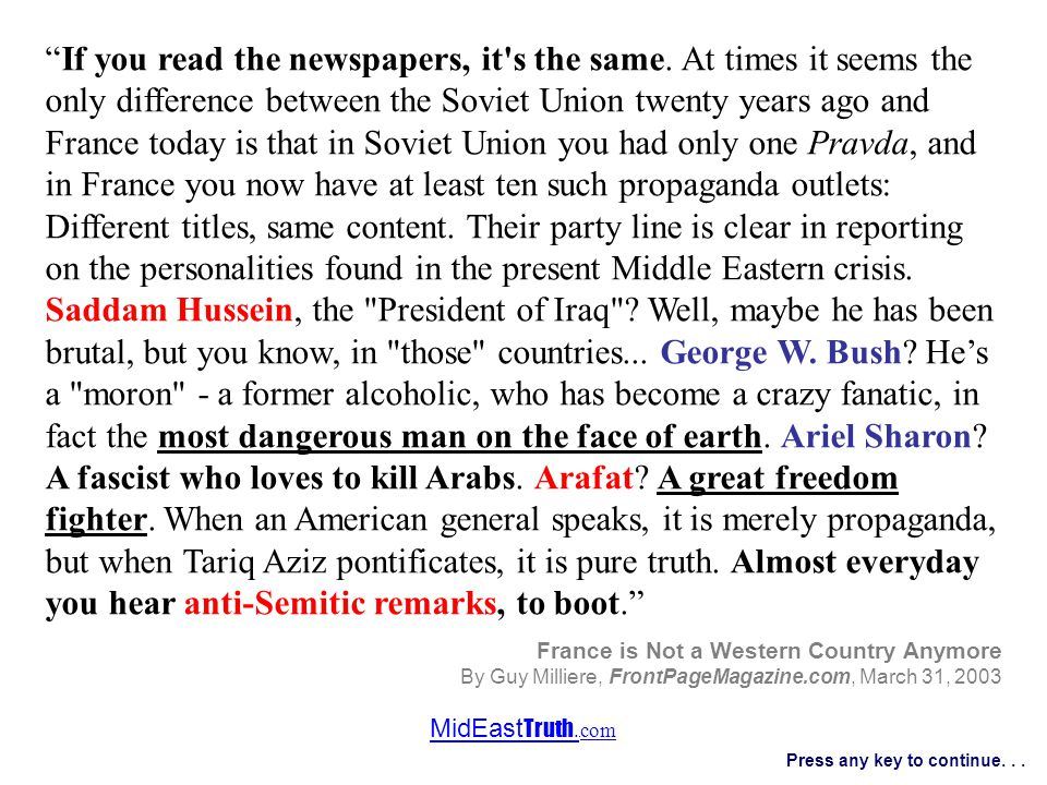 MidEast Truth. com Press any key to continue...