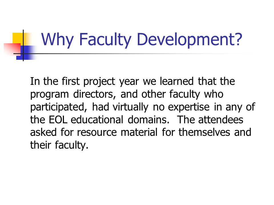 Why Faculty Development.
