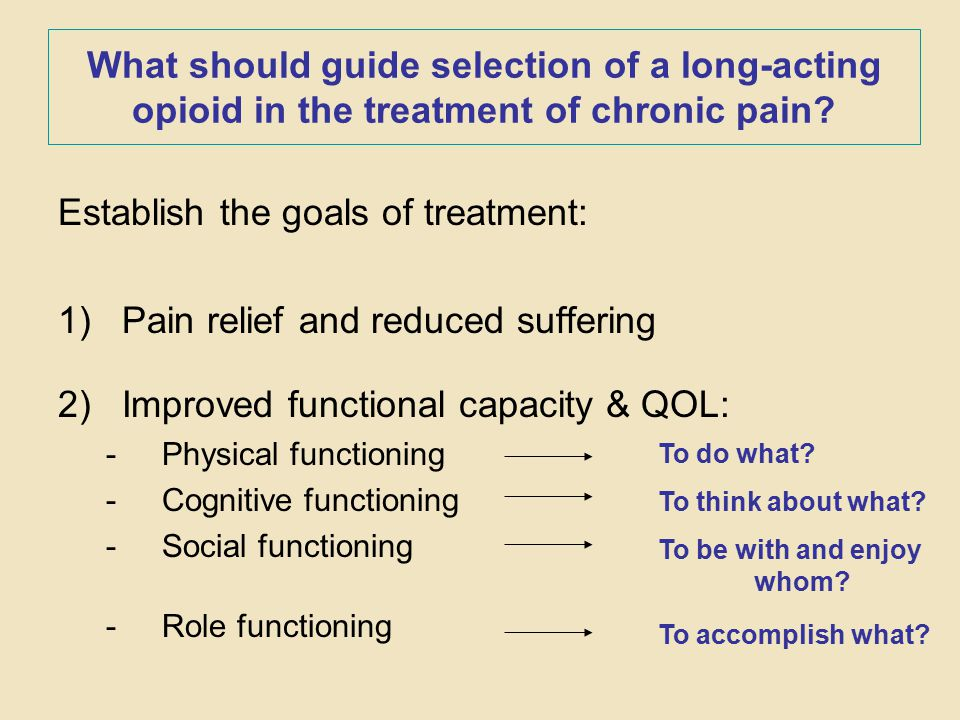 What should guide selection of a long-acting opioid in the treatment of chronic pain? Establish the goals of treatment: 1)Pain relief and reduced suff