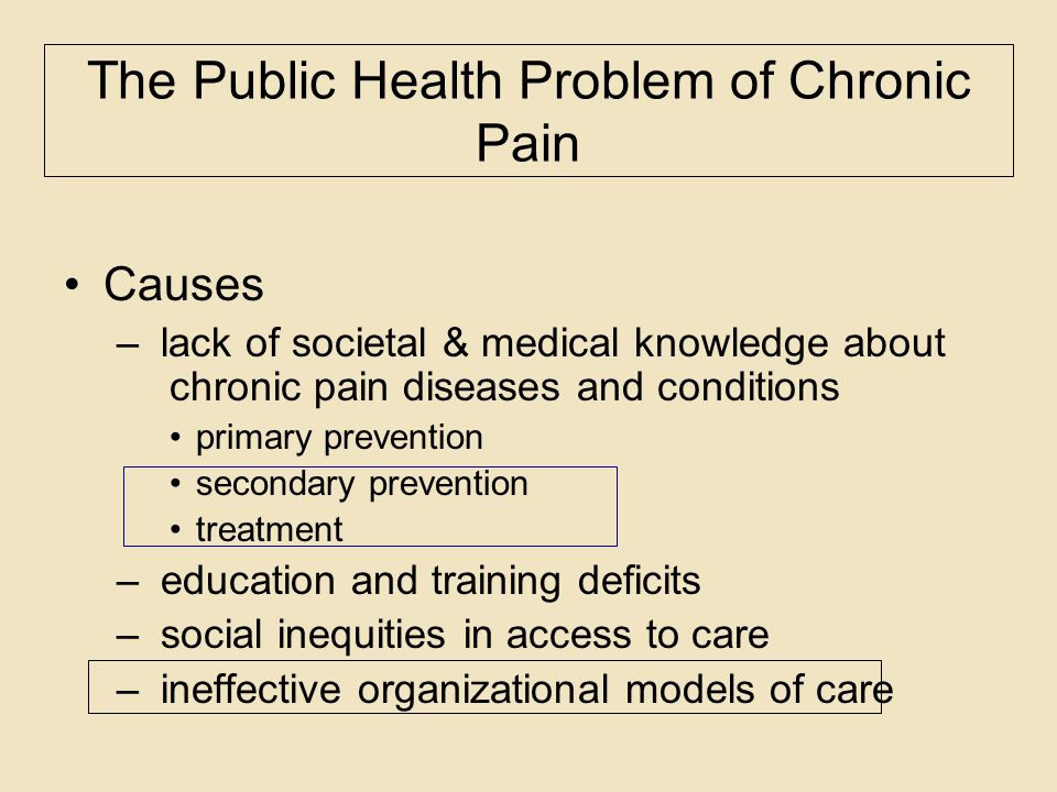 The Public Health Problem of Chronic Pain Causes – lack of societal & medical knowledge about chronic pain diseases and conditions primary prevention