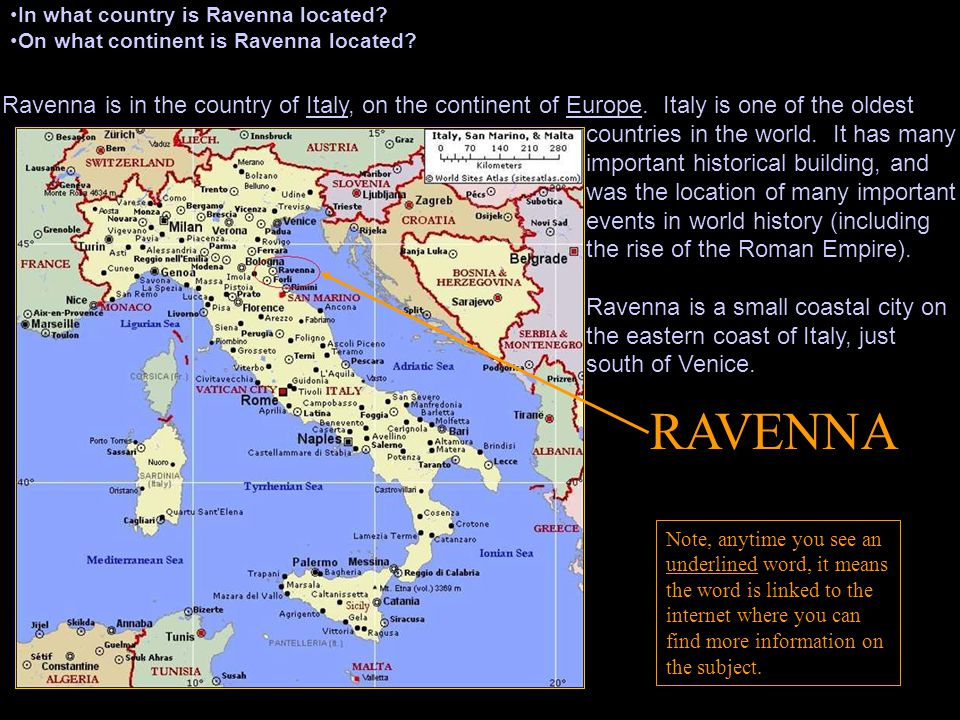 1. In what country is Ravenna located. 3. What does 6 th century mean.
