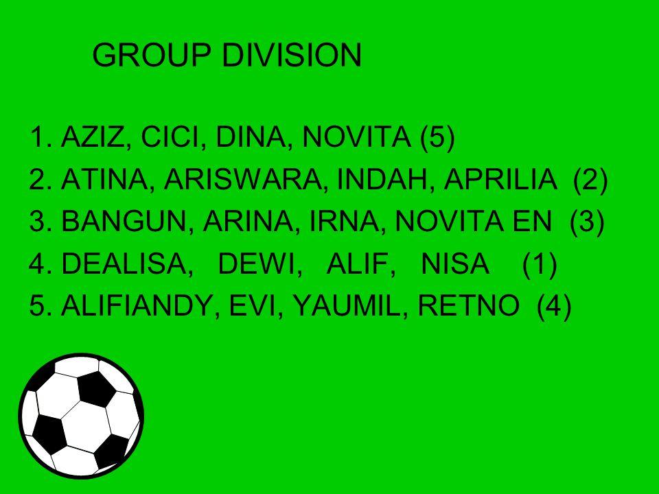 GROUP DIVISION 1. AZIZ, CICI, DINA, NOVITA (5) 2.