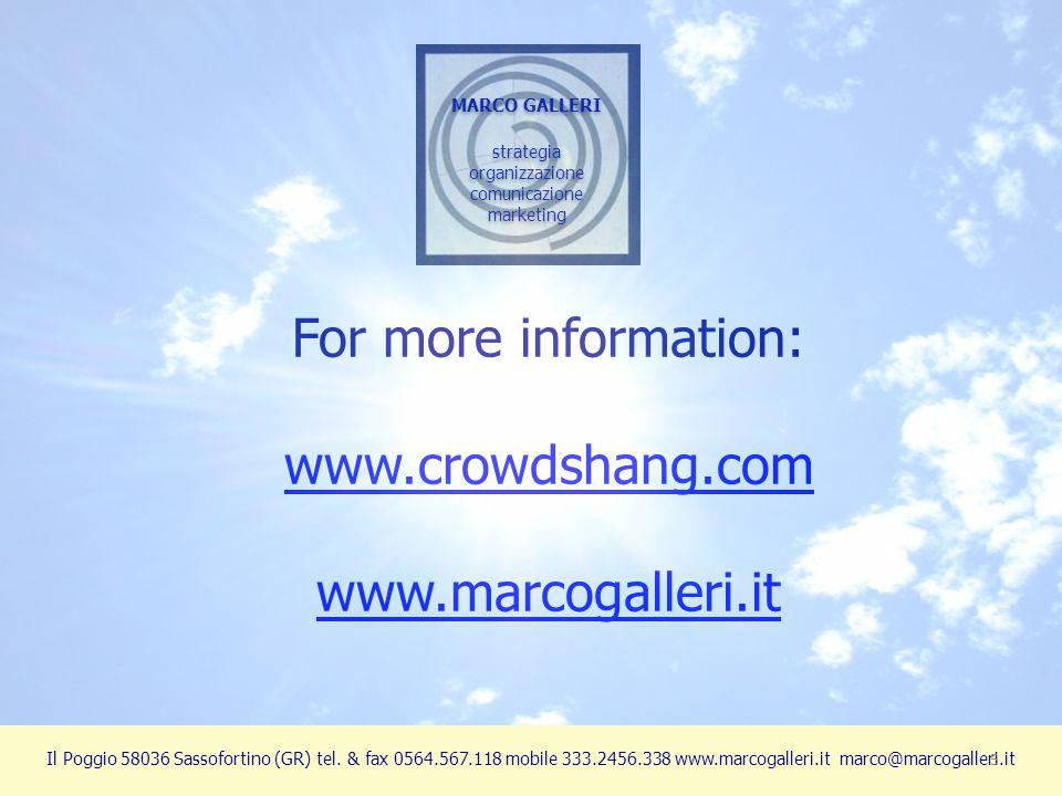 MARCO GALLERI strategia organizzazione comunicazione marketing MARCO GALLERI strategia organizzazione comunicazione marketing Il Poggio 58036 Sassofor
