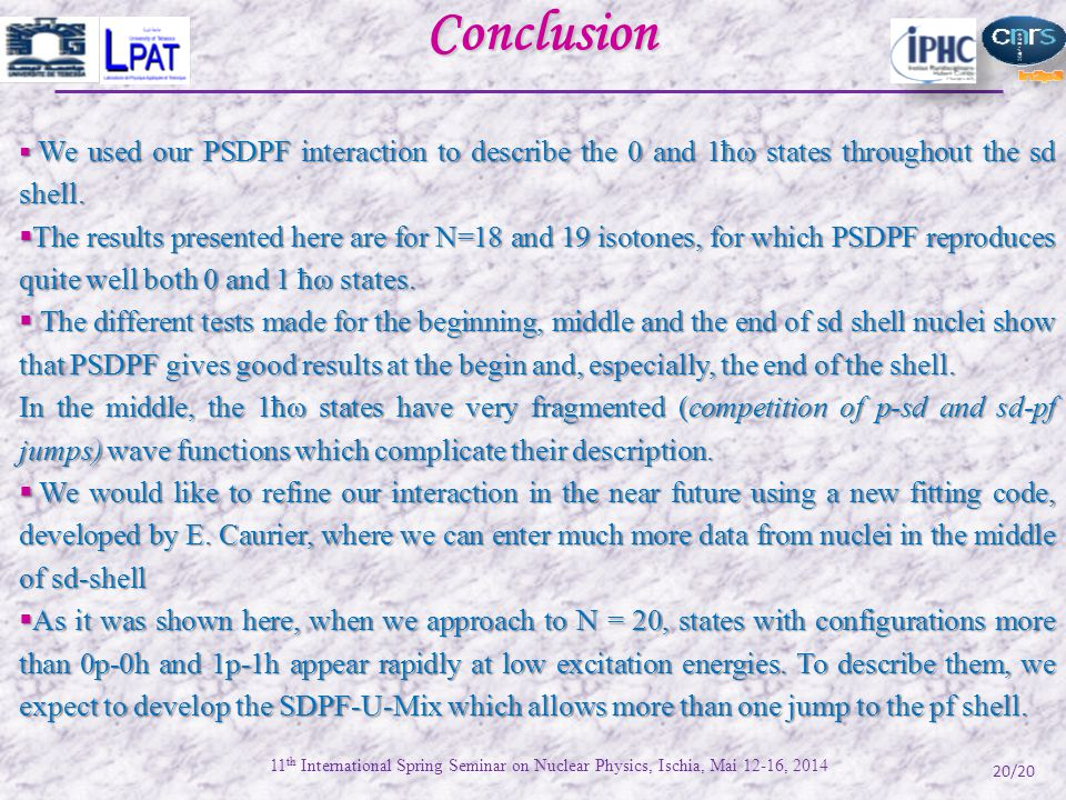 20/20Conclusion  We used our PSDPF interaction to describe the 0 and 1ħω states throughout the sd shell.