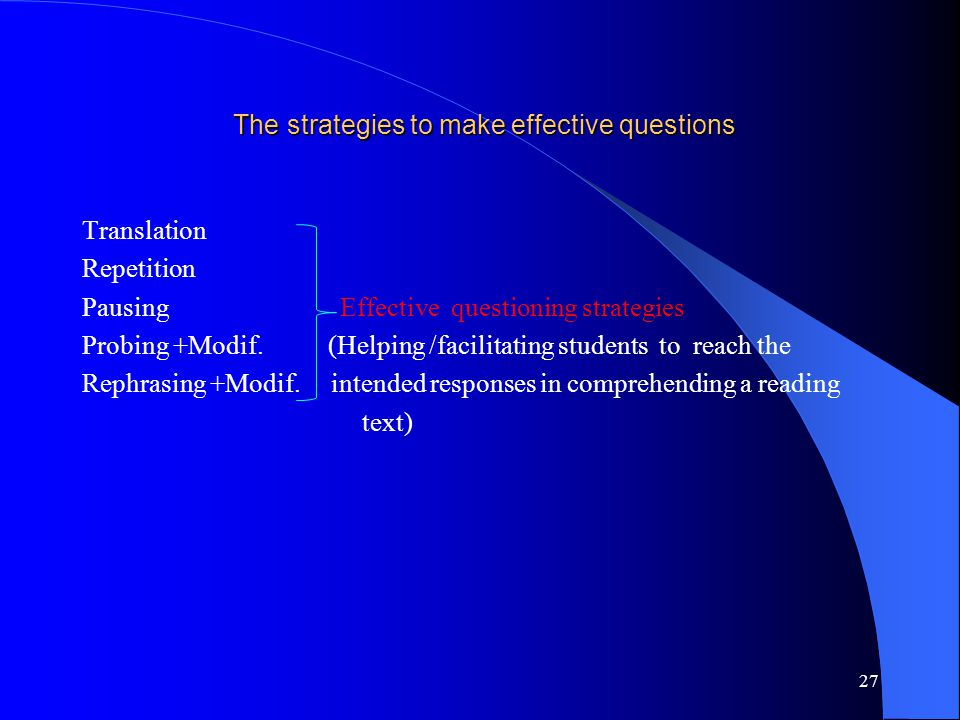 The strategies to make effective questions The strategies to make effective questions Translation Repetition Pausing Effective questioning strategies