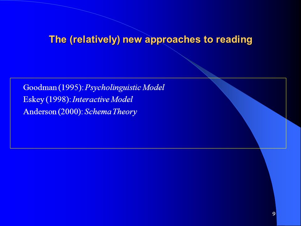 9 The (relatively) new approaches to reading Goodman (1995): Psycholinguistic Model Eskey (1998): Interactive Model Anderson (2000): Schema Theory