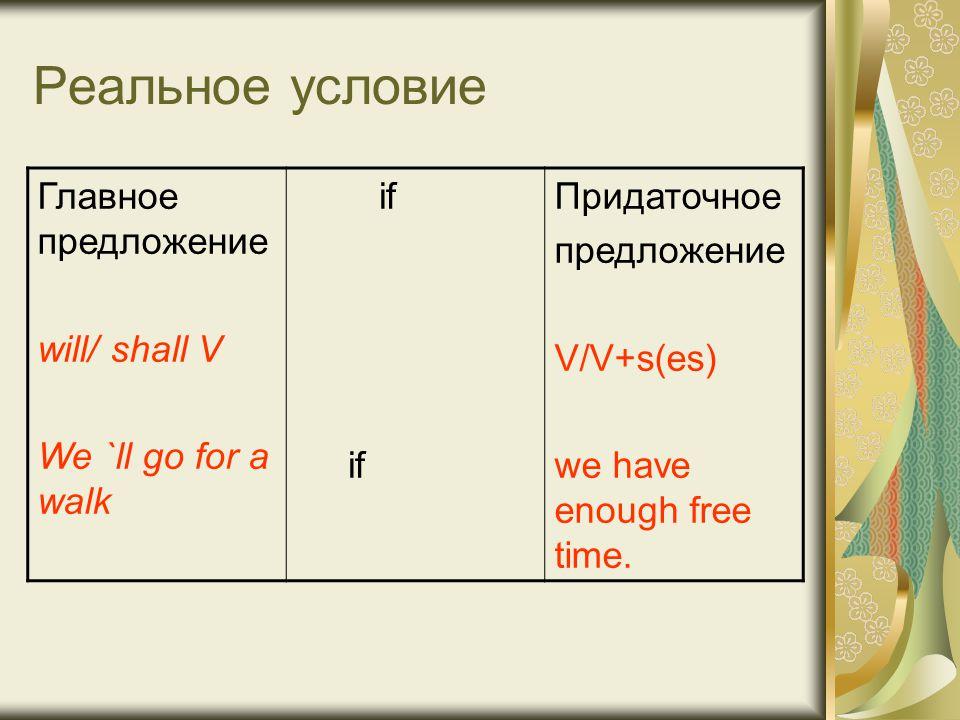 Реальное условие Главное предложение will/ shall V We `ll go for a walk if Придаточное предложениe V/V+s(es) we have enough free time.