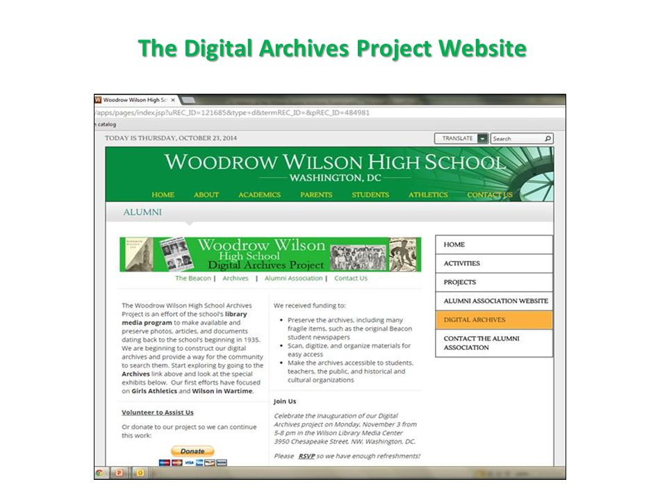 The Digital Archives Project Website