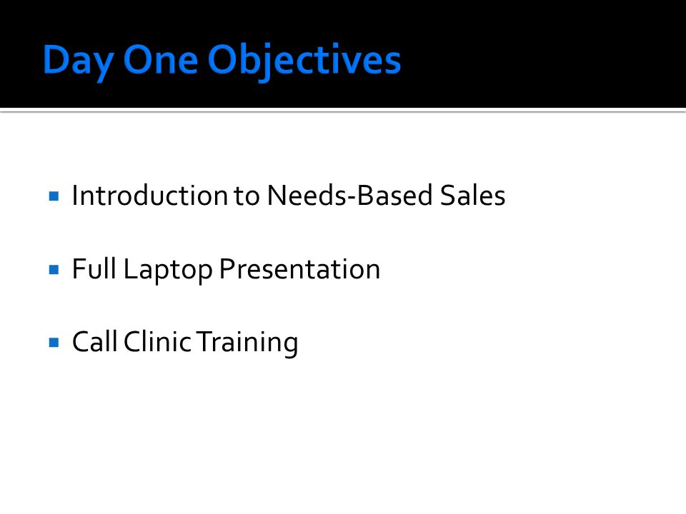  Introduction to Needs-Based Sales  Full Laptop Presentation  Call Clinic Training