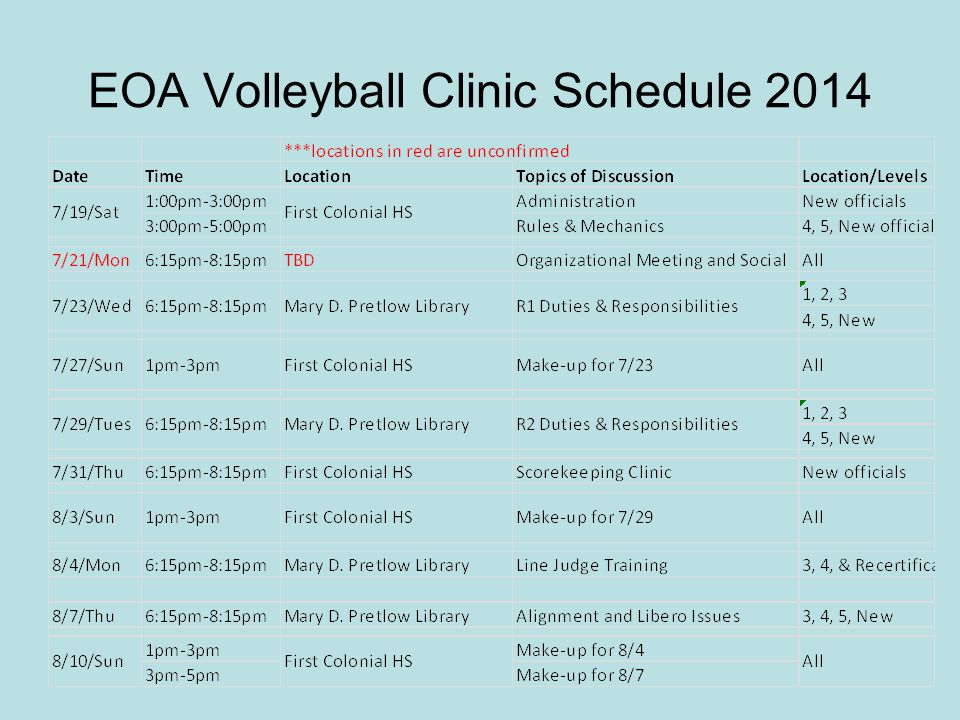 EOA Volleyball Clinic Schedule 2014