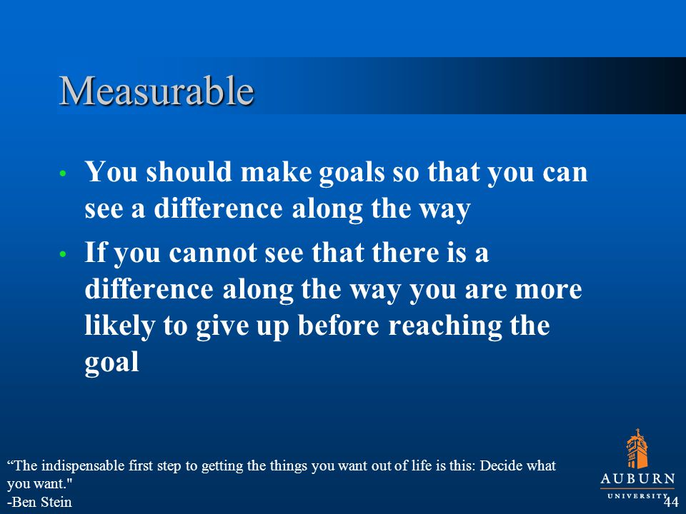 Measurable You should make goals so that you can see a difference along the way If you cannot see that there is a difference along the way you are more likely to give up before reaching the goal 44 The indispensable first step to getting the things you want out of life is this: Decide what you want. -Ben Stein