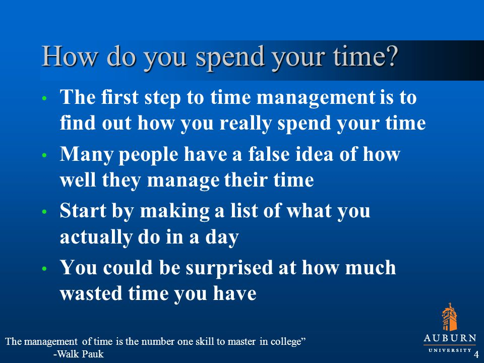 After you have found out how you really spend your time, create a plan What time periods are wasted.