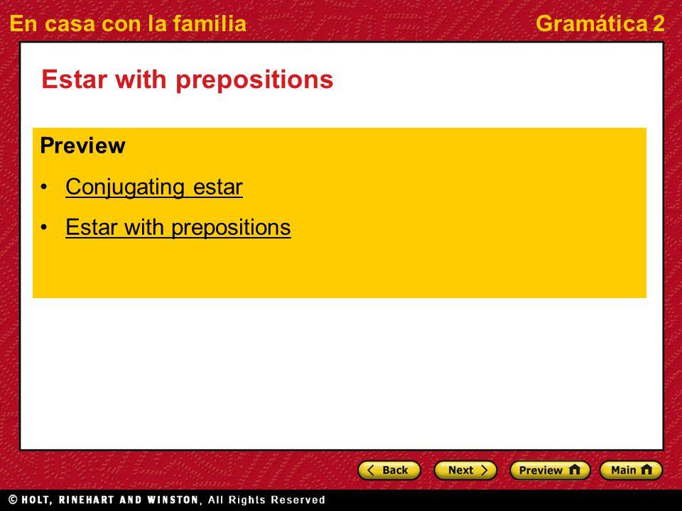 En casa con la familiaGramática 2 Estar with prepositions Preview Conjugating estar Estar with prepositions