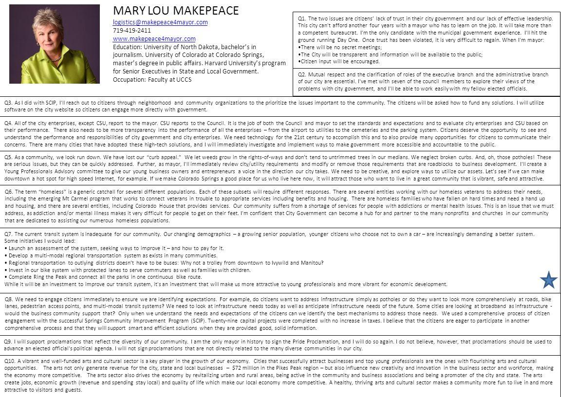 MARY LOU MAKEPEACE logistics@makepeace4mayor.com 719-419-2411 www.makepeace4mayor.com Education: University of North Dakota, bachelor's in journalism.