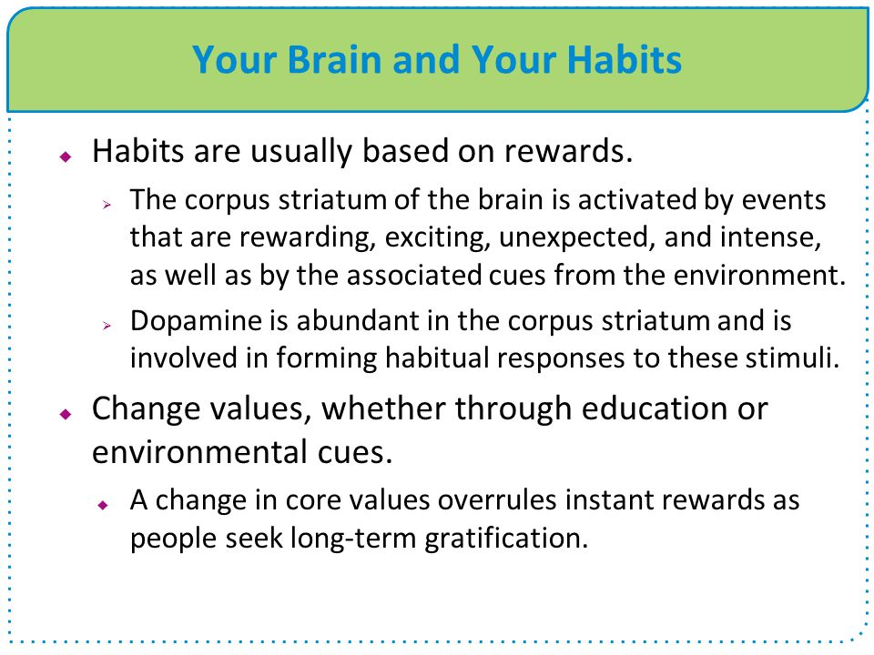 Your Brain and Your Habits  Habits are usually based on rewards.