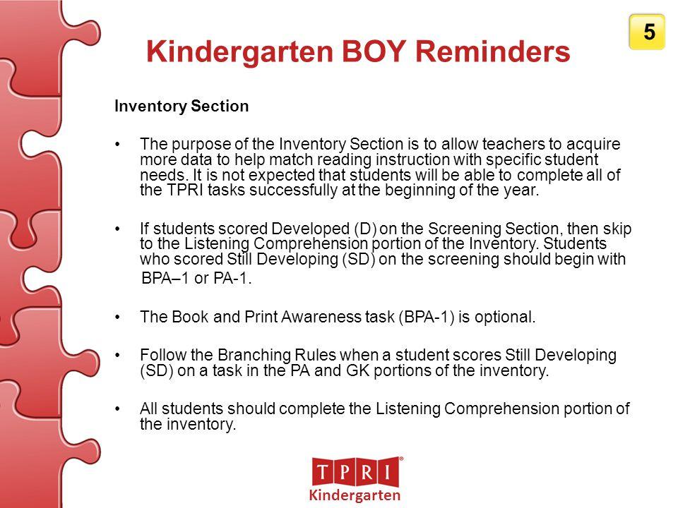 Kindergarten 6 BOY – Kindergarten Listening Comprehension The Listening Comprehension task at BOY is COM-BOY.