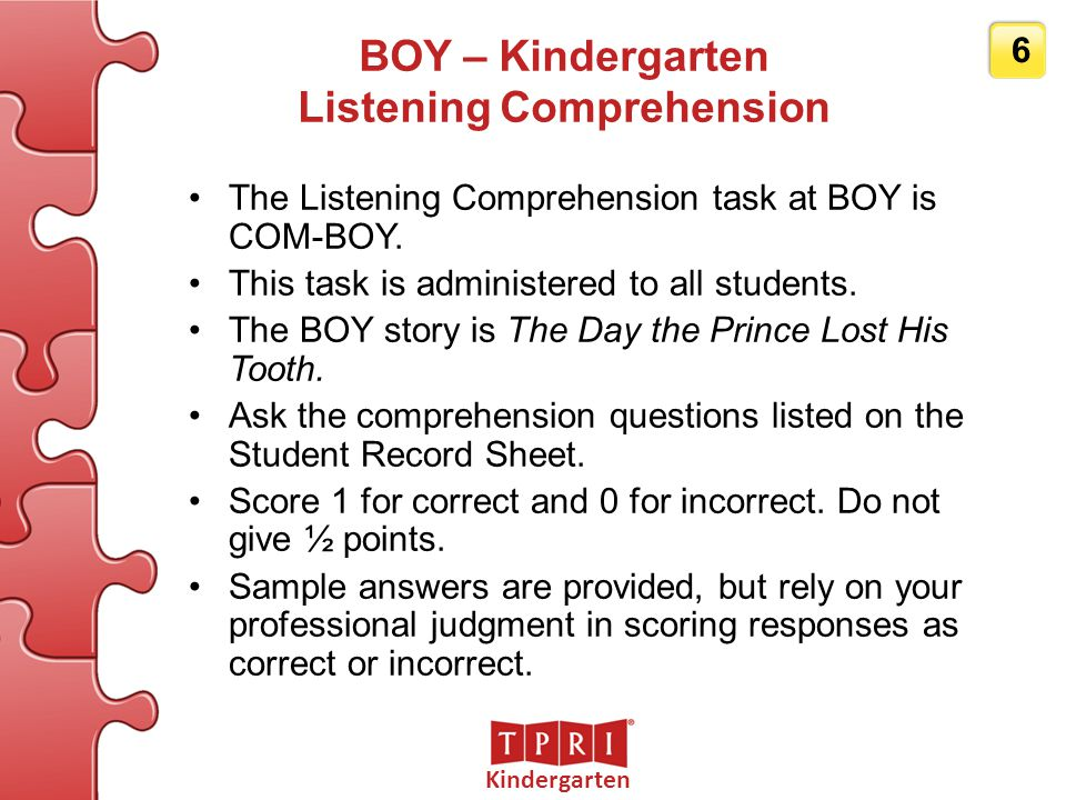 Grade 3 37 BOY – Grade 3 Reading Comprehension Ask the comprehension questions listed on the Student Record Sheet.