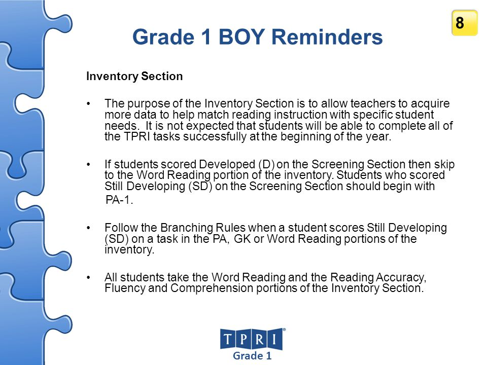 PMER 39 Using the PMER After BOY Kindergarten and Grade 1 –The PMER is typically used with students who are receiving intervention to facilitate more regular checks of their progress.