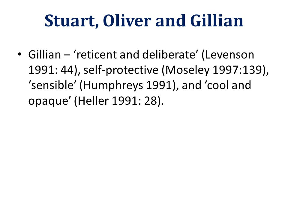 Gillian – 'reticent and deliberate' (Levenson 1991: 44), self-protective (Moseley 1997:139), 'sensible' (Humphreys 1991), and 'cool and opaque' (Heller 1991: 28).