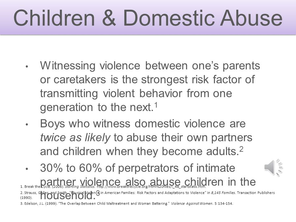 Children & Domestic Abuse 1.Break the Cycle. (2006).