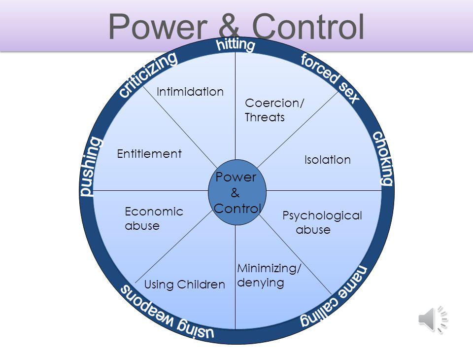 Power & Control Power & Control Psychological abuse Minimizing/ denying Intimidation Coercion/ Threats Entitlement Economic abuse Using Children Isolation