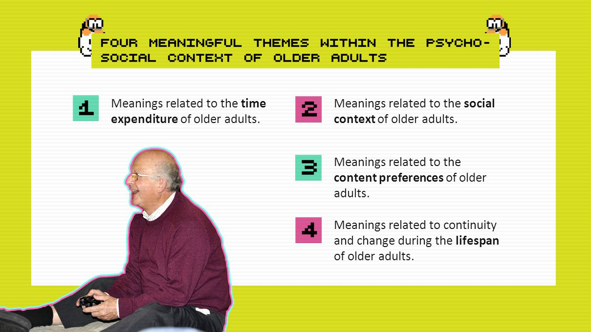 Meanings related to the time expenditure of older adults.