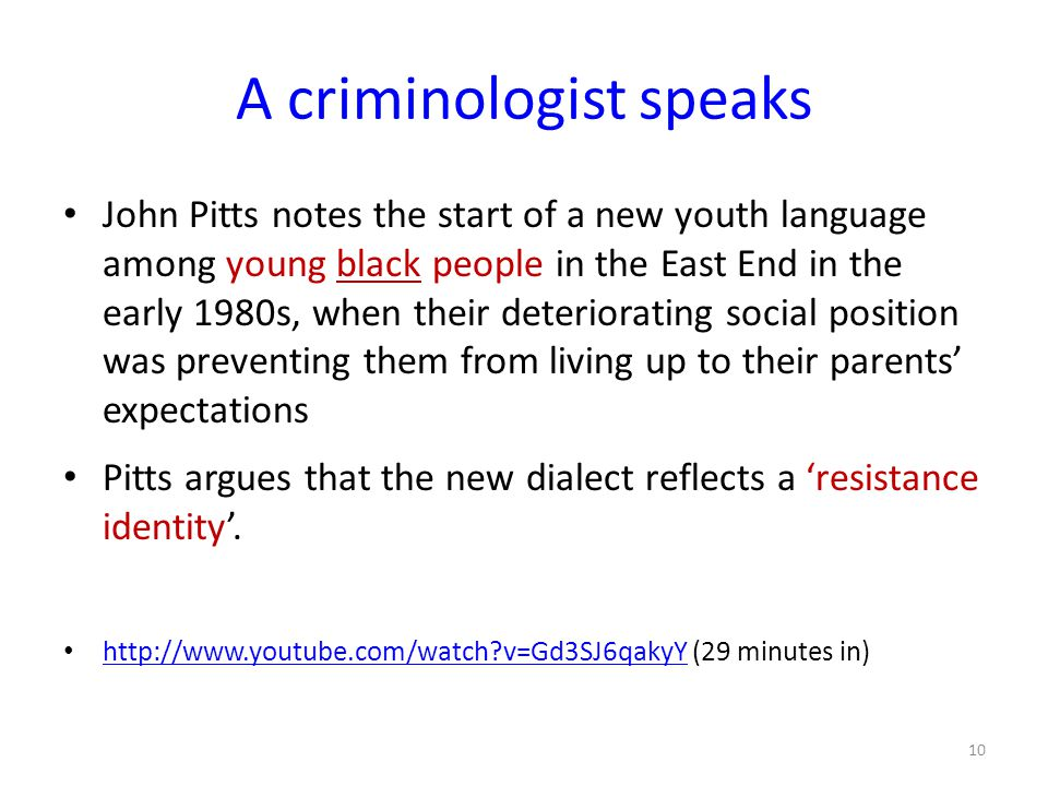 A criminologist speaks John Pitts notes the start of a new youth language among young black people in the East End in the early 1980s, when their dete