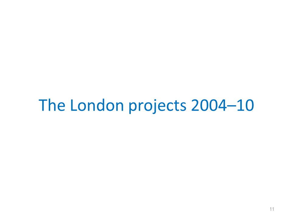 The London projects 2004–10 11