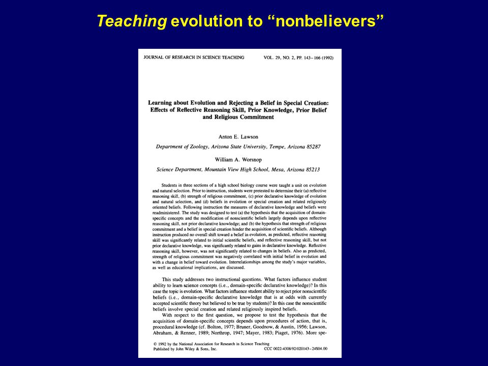 Teaching evolution to nonbelievers