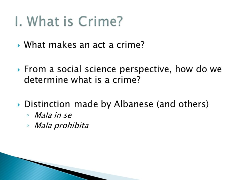  What makes an act a crime.