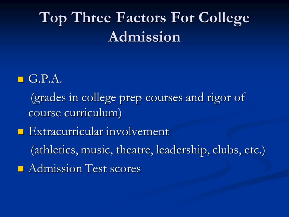 Top Three Factors For College Admission G.P.A. G.P.A.