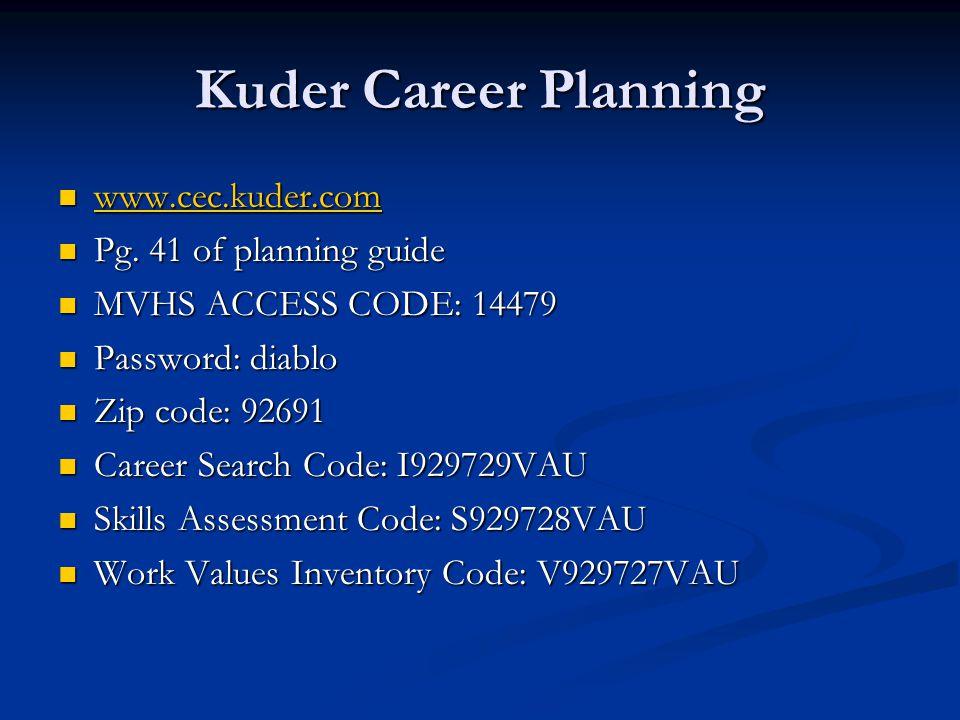Kuder Career Planning www.cec.kuder.com www.cec.kuder.com www.cec.kuder.com Pg. 41 of planning guide Pg. 41 of planning guide MVHS ACCESS CODE: 14479