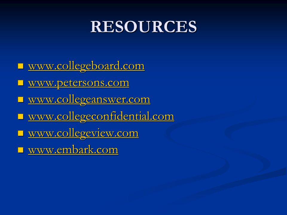RESOURCES www.collegeboard.com www.collegeboard.com www.collegeboard.com www.petersons.com www.petersons.com www.petersons.com www.collegeanswer.com w