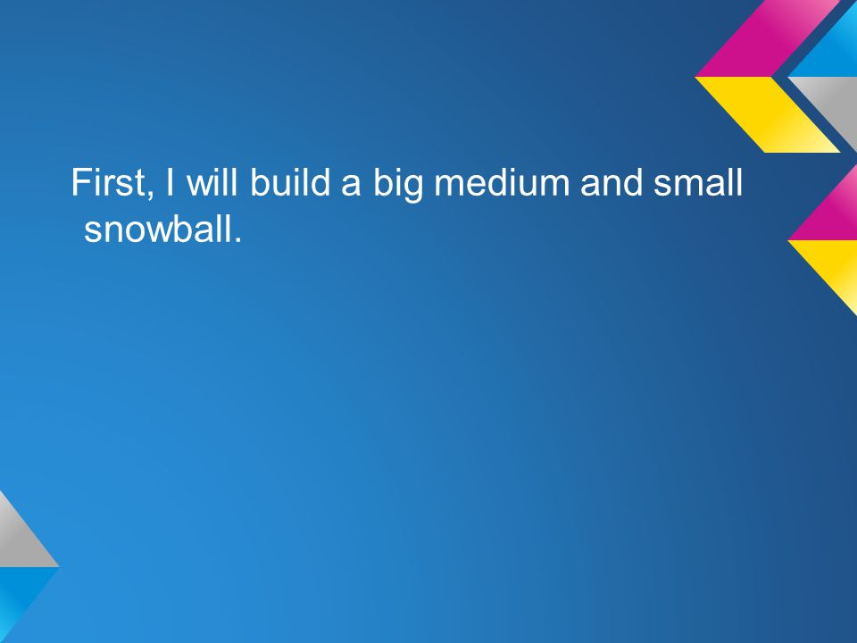 First, I will build a big medium and small snowball.