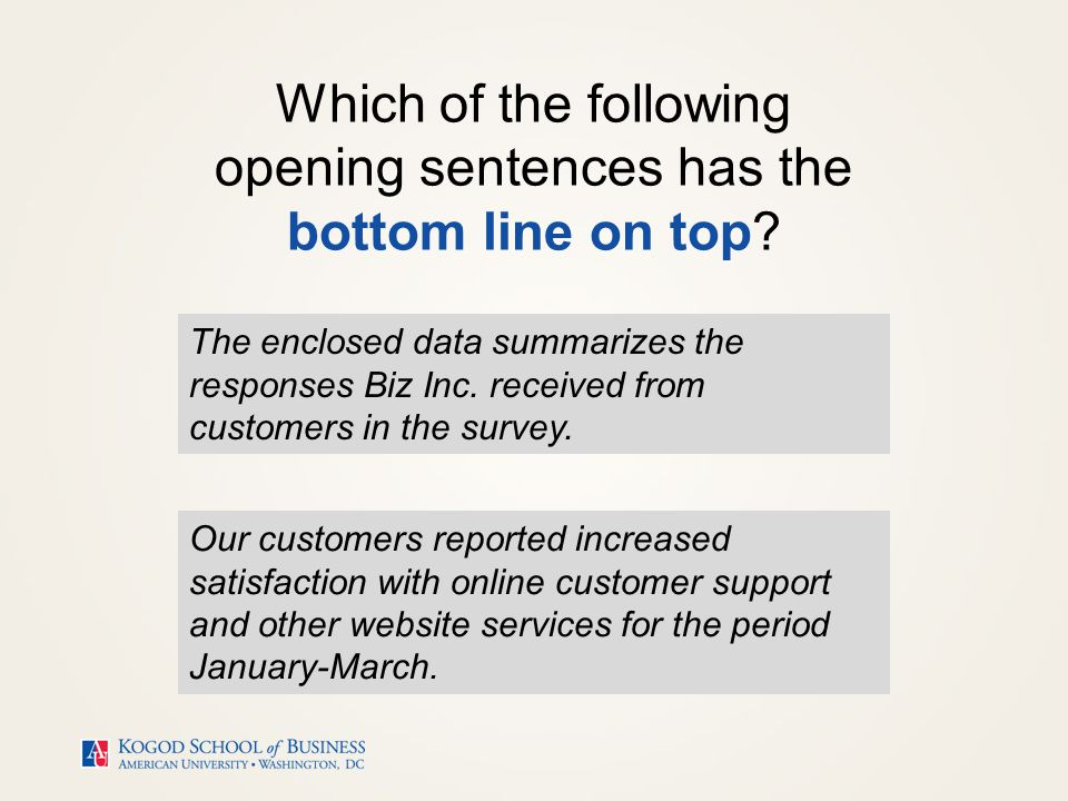 Bottom line on top (BLOT) means stating your main message or take- away at the beginning of your text.