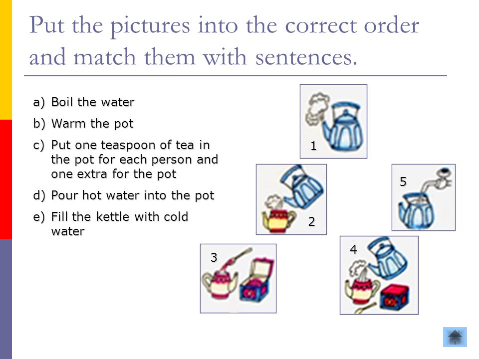Put the pictures into the correct order and match them with sentences. a)Boil the water b)Warm the pot c)Put one teaspoon of tea in the pot for each p