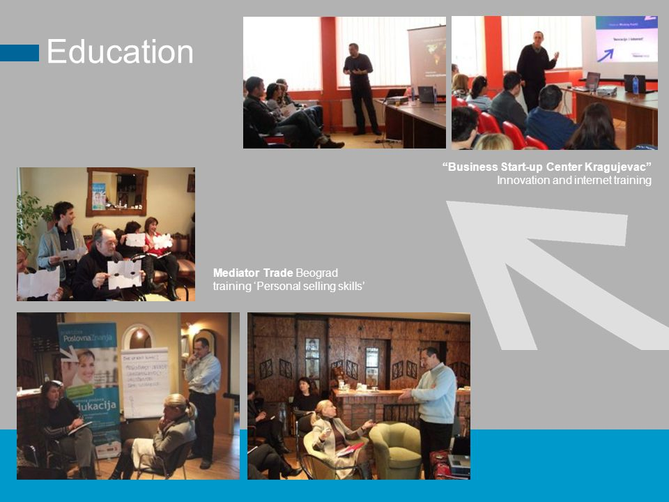 Business Start-up Center Kragujevac Innovation and internet training Mediator Trade Beograd training 'Personal selling skills' Education