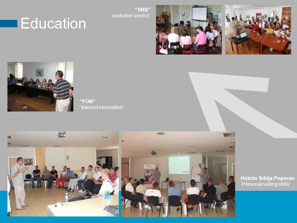 SBB 'customer service' Holcim Srbija Popovac 'Personal selling skills' Education FON 'Internet innovation'