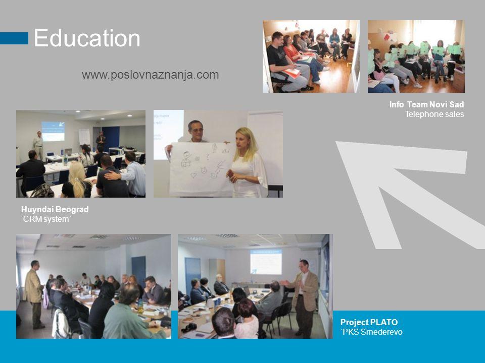 Project PLATO 'PKS Smederevo Education Huyndai Beograd 'CRM system' www.poslovnaznanja.com Info Team Novi Sad Telephone sales