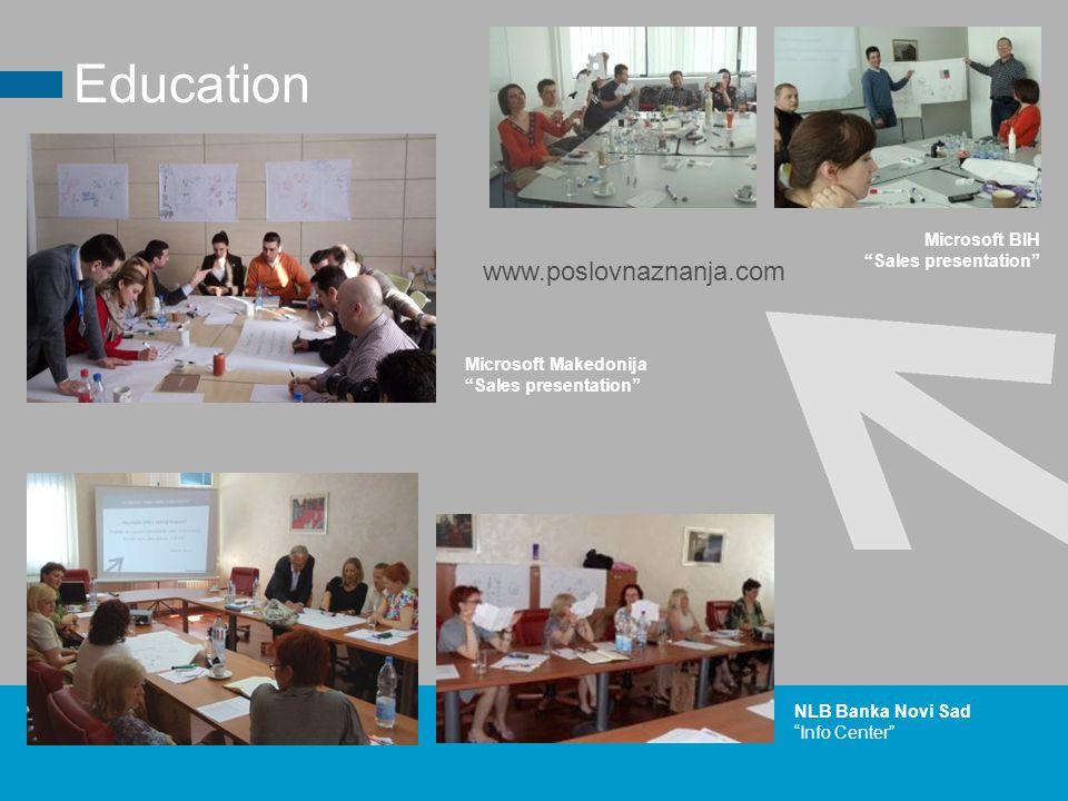 Microsoft BIH Sales presentation Education NLB Banka Novi Sad Info Center www.poslovnaznanja.com Microsoft Makedonija Sales presentation