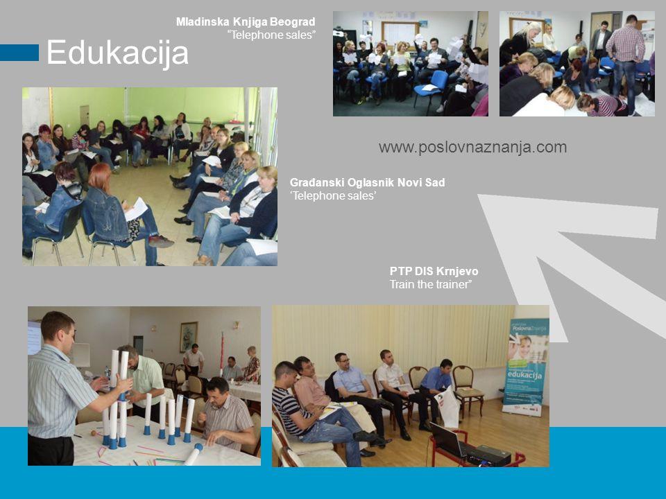 PTP DIS Krnjevo Train the trainer Edukacija Građanski Oglasnik Novi Sad 'Telephone sales' www.poslovnaznanja.com Mladinska Knjiga Beograd Telephone sales