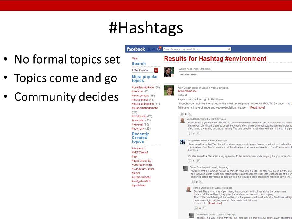 #Hashtags No formal topics set Topics come and go Community decides