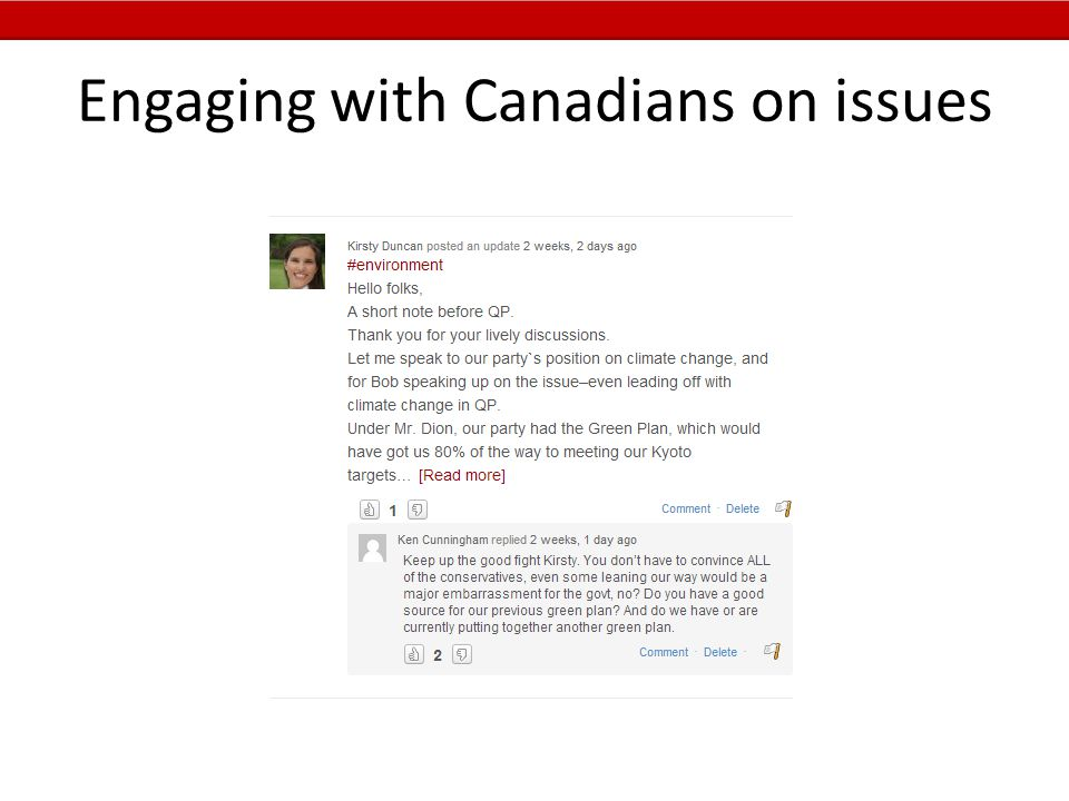 Engaging with Canadians on issues